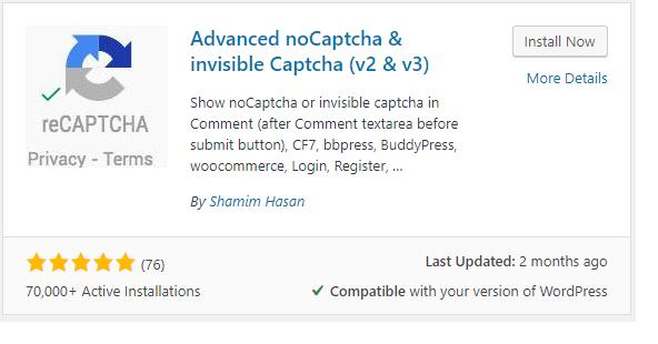 Install the Advanced noCaptcha & invisible Captcha Plugin (v2 & v3)