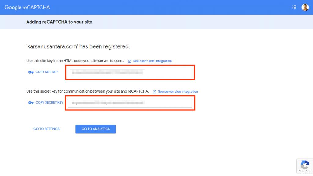 site key and secret key google