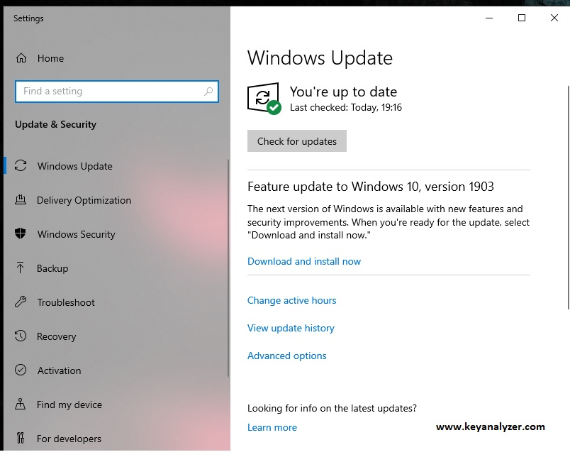 windows update settings windows 10