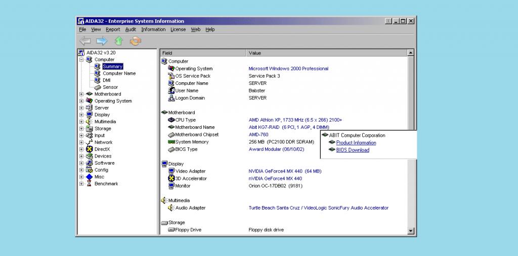 AIDA32 Windows