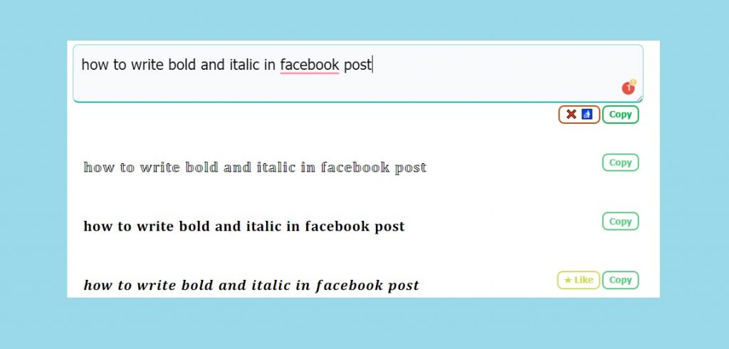 Bold, Underlined, Italic text style and lists in Facebook post