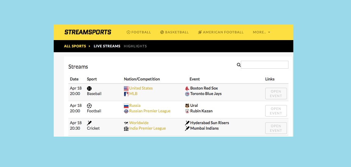 StreamSports new site